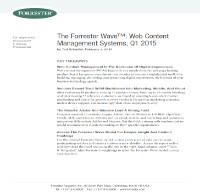 The Forrester Wave™: Sistemas de Gestión de Contenidos Web, Q1 2015