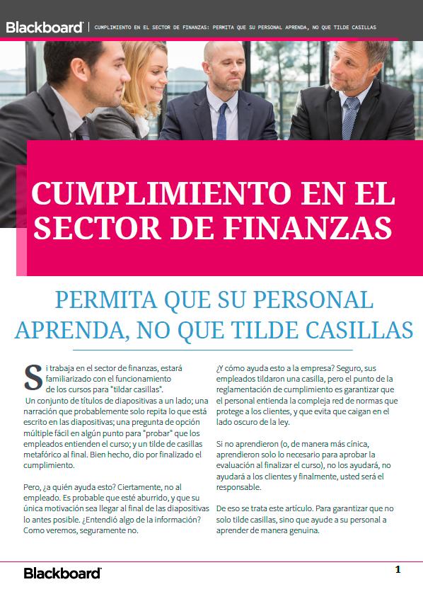 Cumplimiento en el sector de finanzas