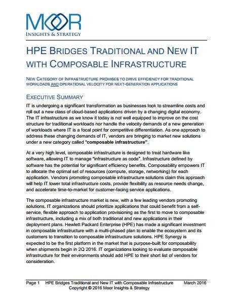 HPE enlaza estructuras de TI tradicionales y nuevas con el Composable Infrastructure