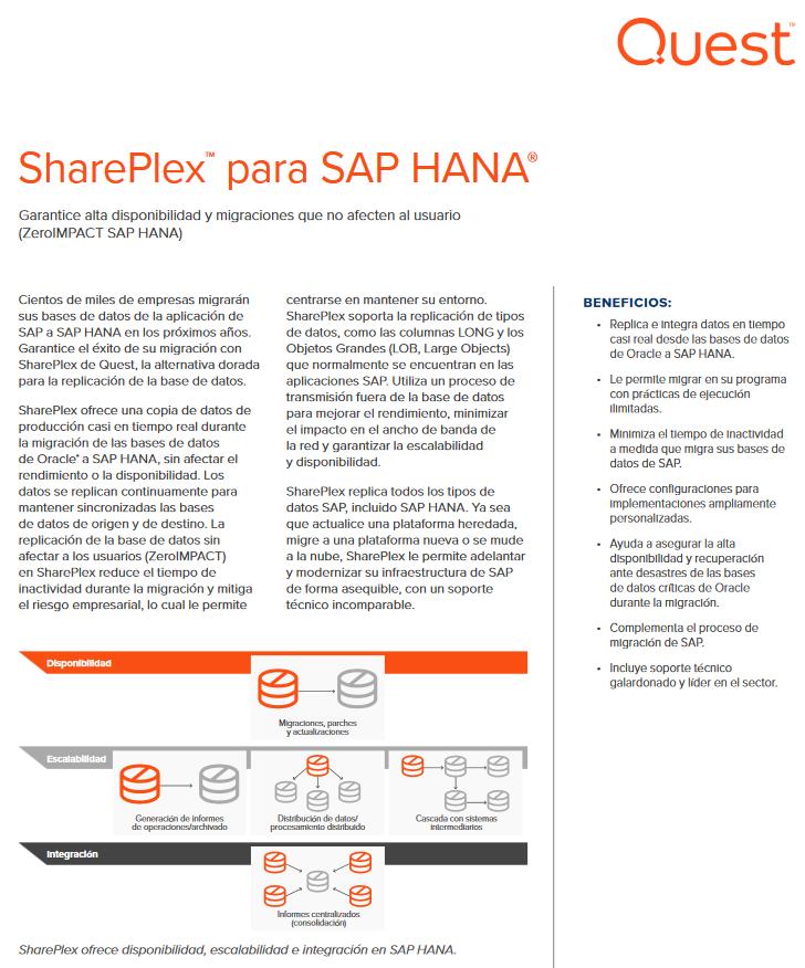 SharePlex™ para SAP HANA®