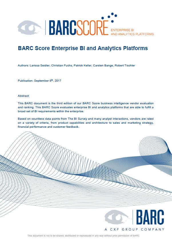 Informe de BARC Score sobre plataformas de BI y Analytics