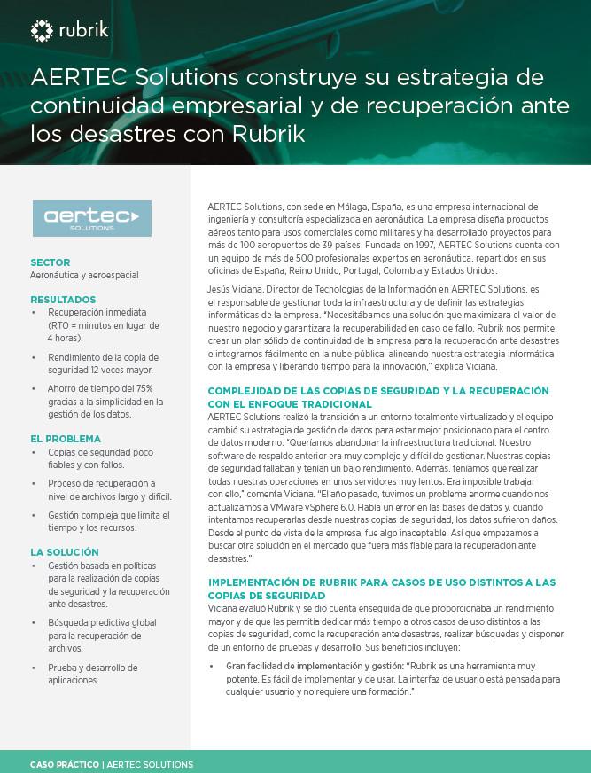 AERTEC Solutions construye su estrategia de continuidad empresarial y de recuperación ante los desastres con Rubrik