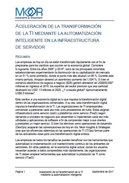 Aceleración de la transformación de la TI mediante la automatización inteligente en la infraestructura de servidor