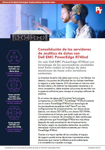Consolidación de los servidores de analítica de datos con Dell EMC PowerEdge R740xd