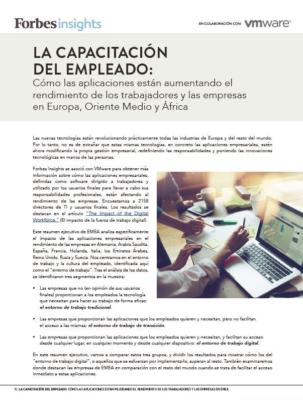 Forbes Insights: Cómo las aplicaciones están aumentando el rendimiento de los trabajadores y las empresas en Europa, Oriente Medio y África