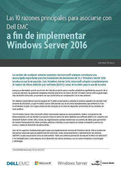 Las 10 razones principales para asociarse con Dell EMC a fin de implementar Windows Server 2016
