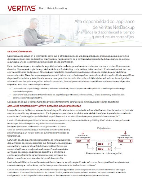 Alta disponibilidad del appliance de Veritas NetBackup – Mantenga la disponibilidad al tiempo que reduce los costes fijos.