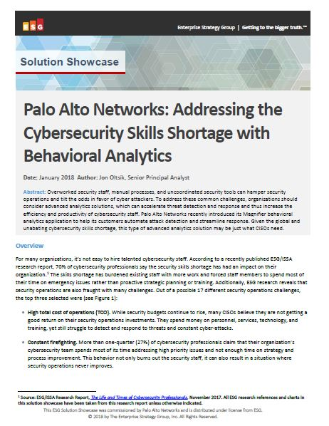 Palo Alto Networks: Addressing the cybersecurity skills shortage with behavioral analytics (An ESG Solution Showcase)