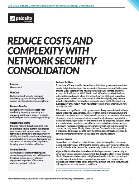 Reduce costs and complexity with network security consolidation
