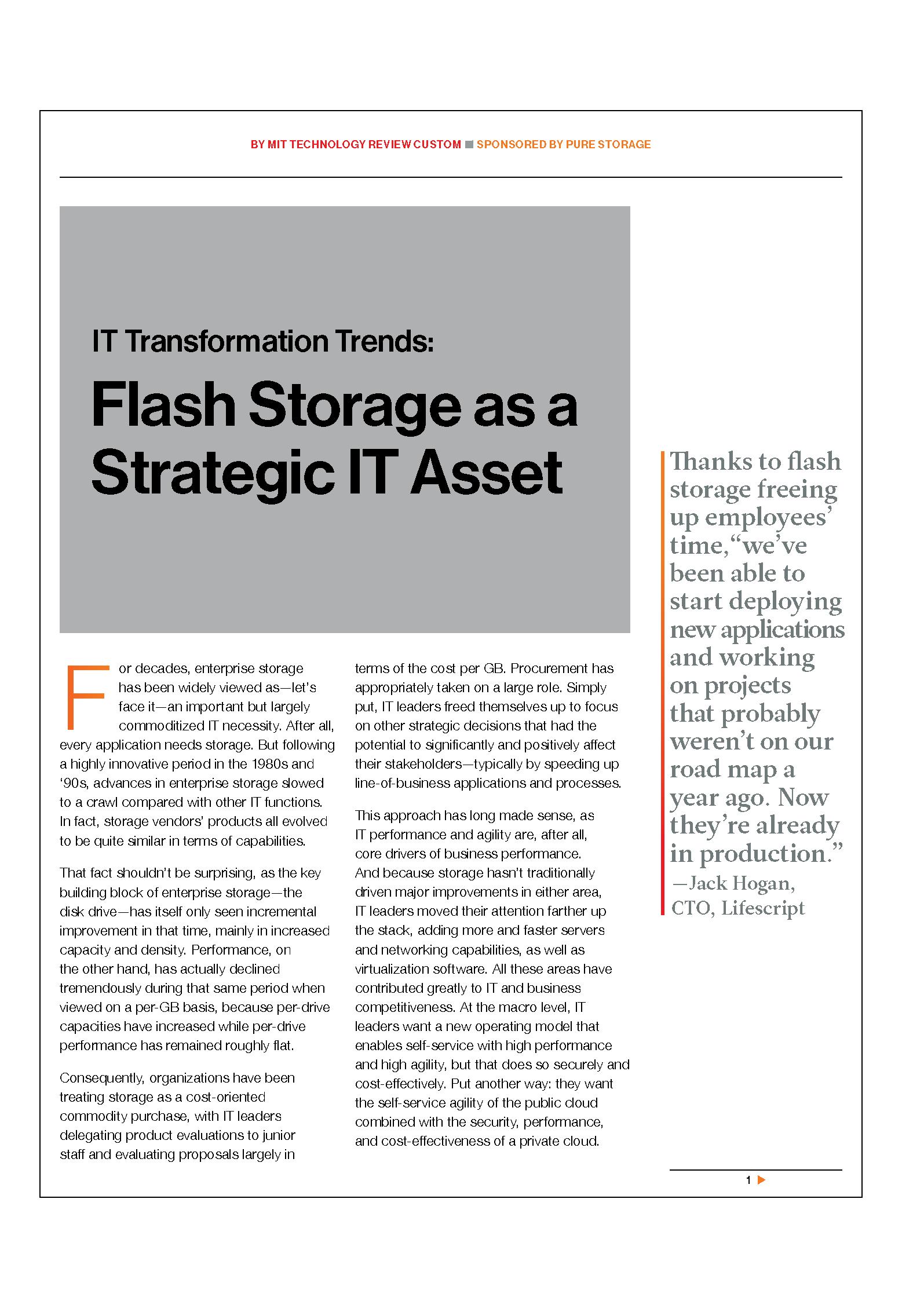 Almacenamiento flash como un activo estratégico de TI