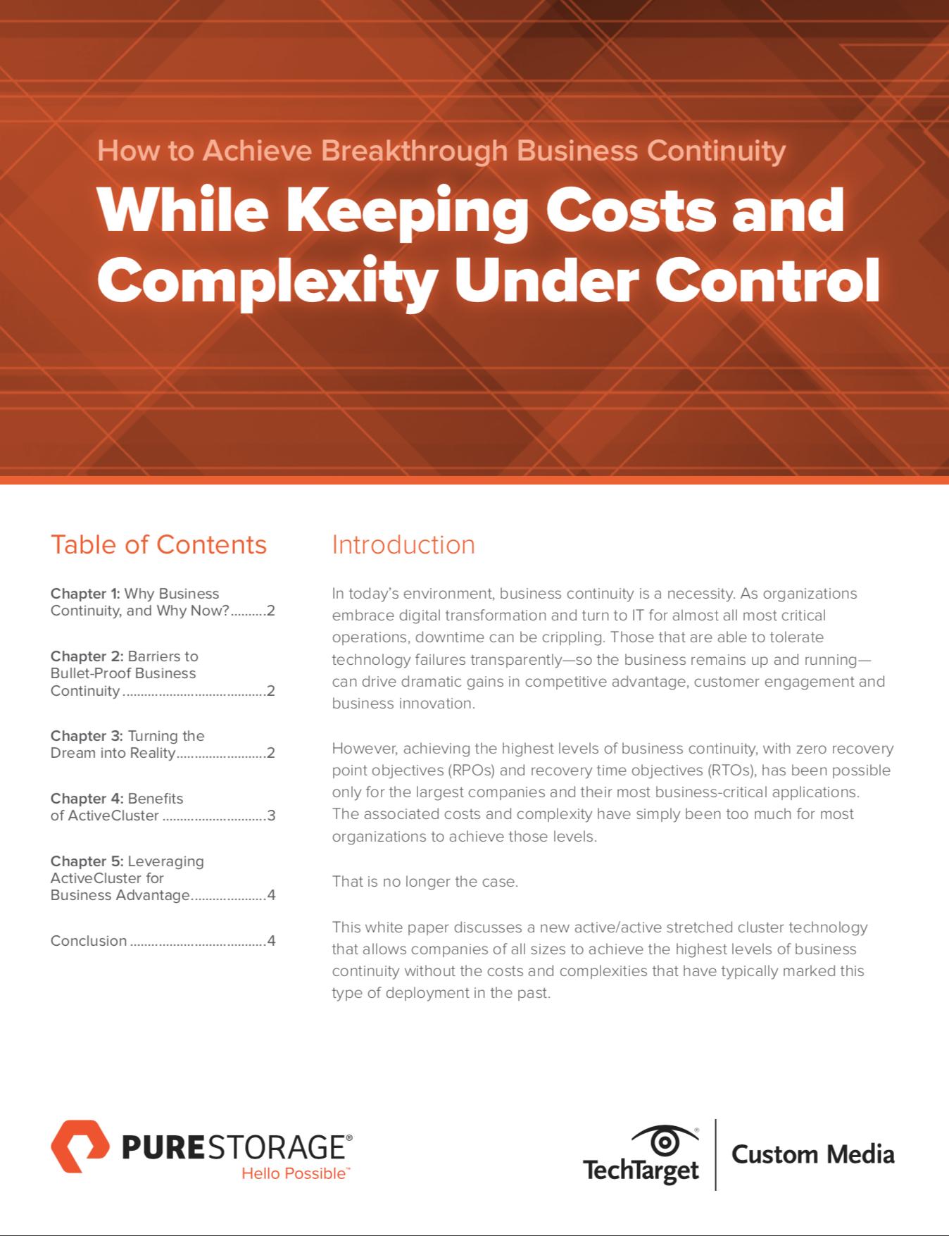 ¿Cómo lograr una continuidad de negocios innovadora manteniendo bajo control los costos y la complejidad?