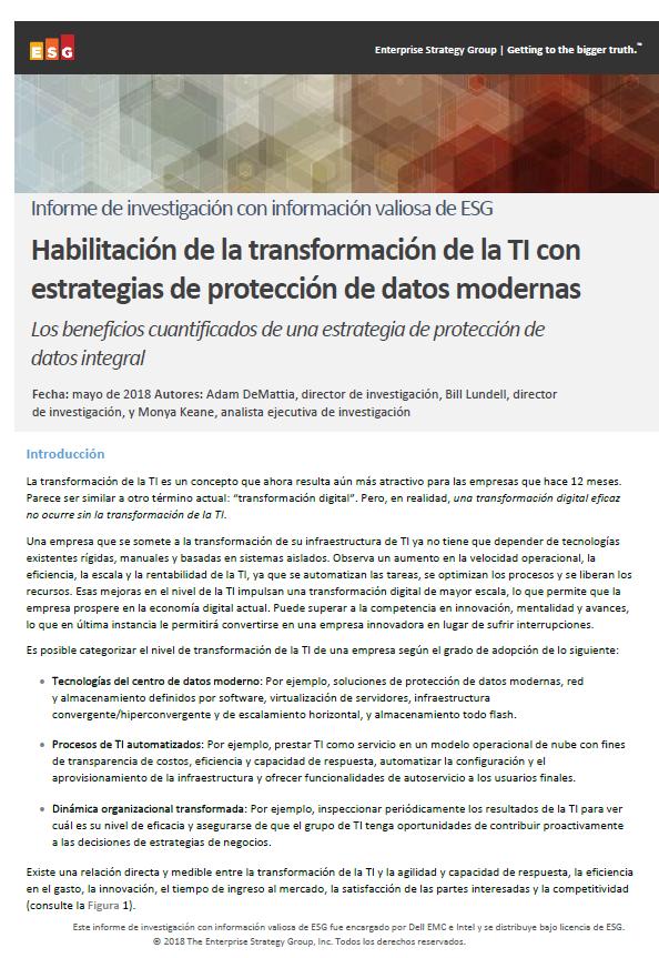 Habilitación de la transformación de la TI con estrategias de protección de datos modernas