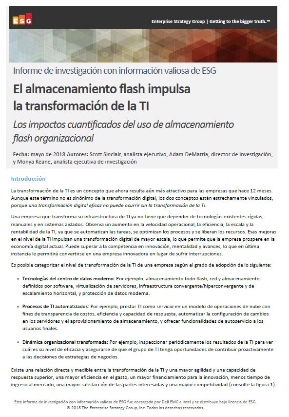 El almacenamiento flash impulsa la transformación de la TI