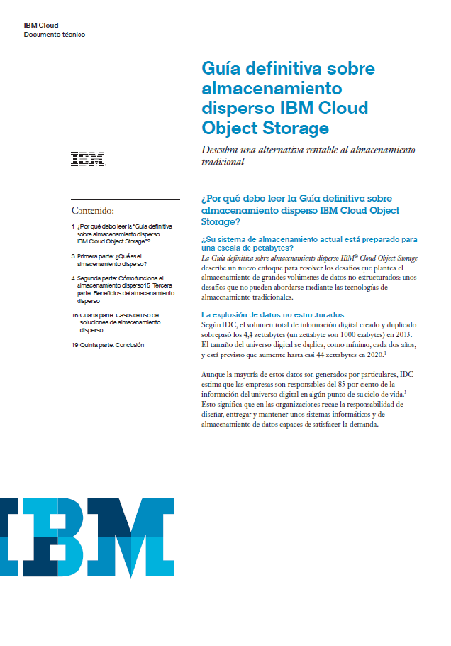 Guía definitiva sobre almacenamiento disperso IBM Cloud Object Storage