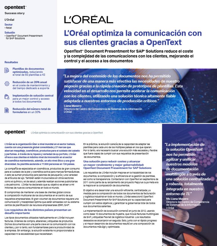 L'Oréal optimiza la comunicación con sus clientes gracias a OpenText