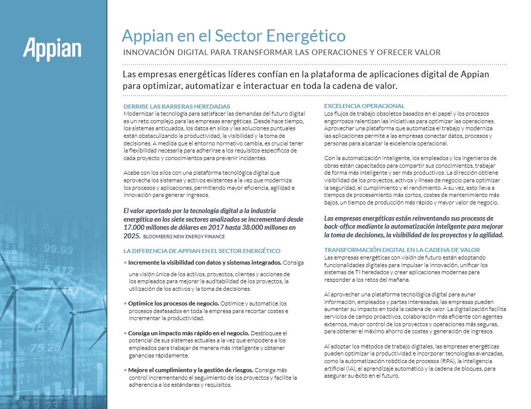 Appian en el Sector Energético: Innovación digital para transformar las operaciones y ofrecer valor