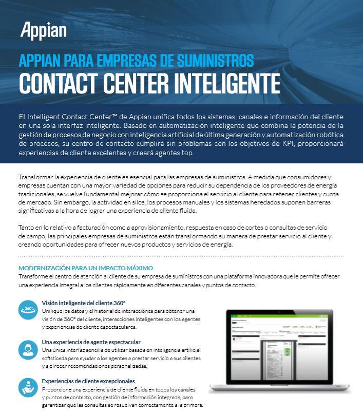 Appian para empresas de suministros: Contact center inteligente