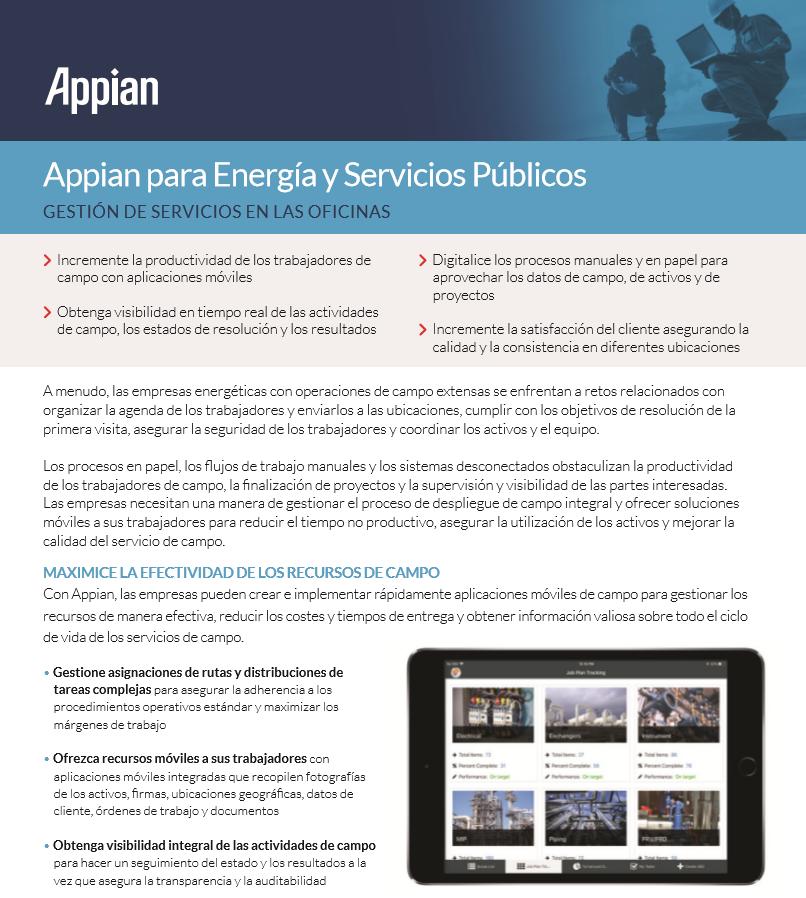 Appian para Energía y Servicios Públicos: Gestión de servicios en las oficinas