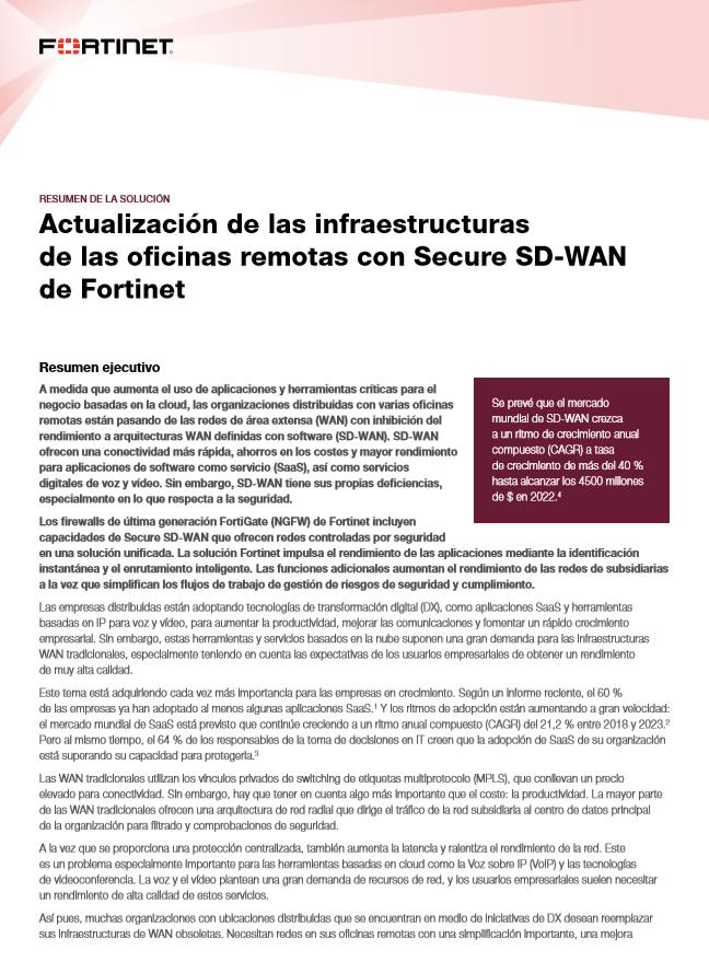 Actualización de las infraestructuras de las oficinas remotas con Secure SD-WAN de Fortinet