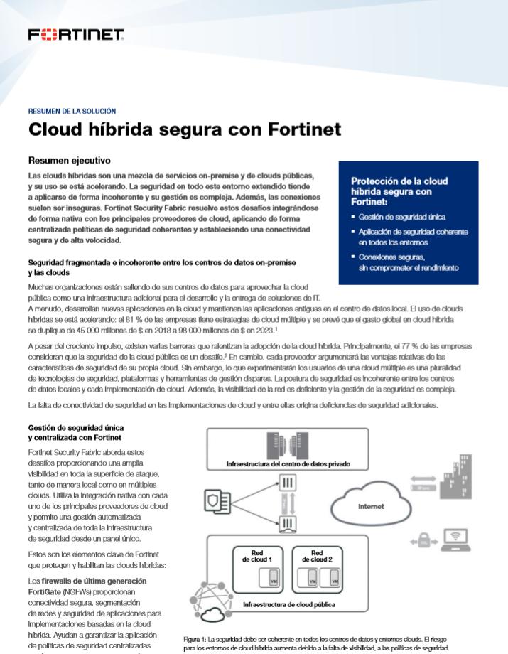 Cloud híbrida segura con Fortinet