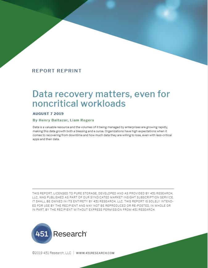 La recuperación de datos es importante, incluso para cargas de trabajo no críticas