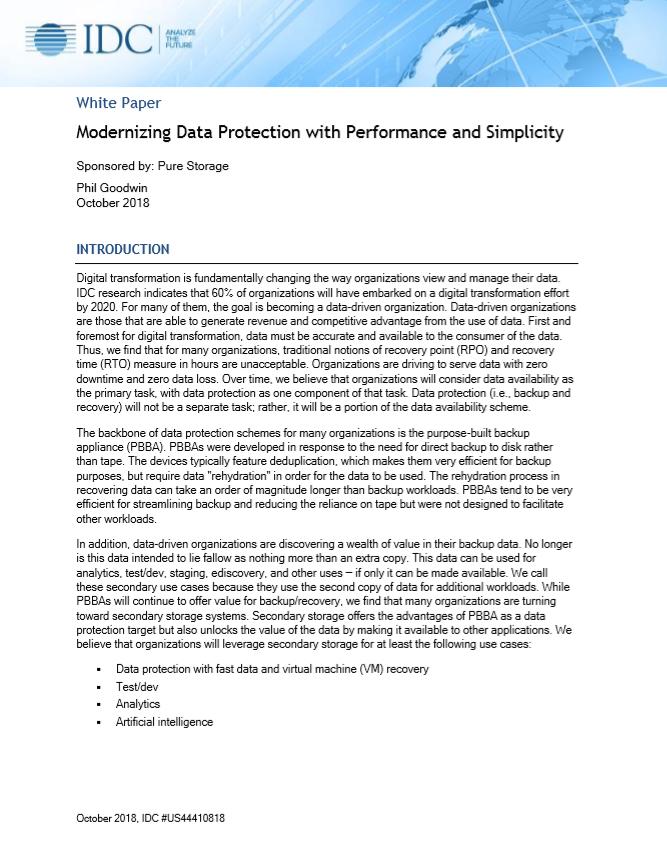 Modernización de la protección de datos con rendimiento y simplicidad