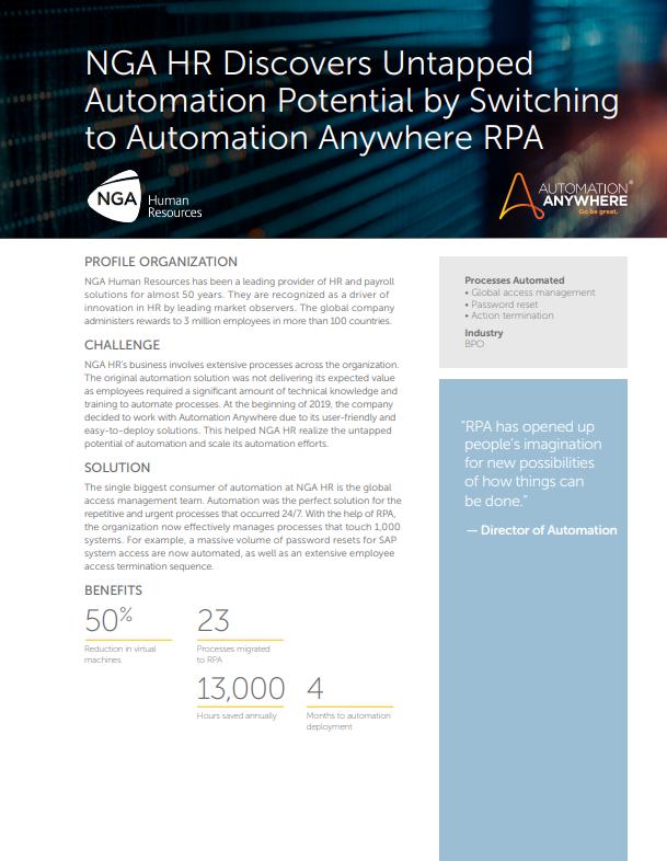 NGA HR descubre un potencial de automatización sin explotar al cambiar a Automation Anywhere RPA
