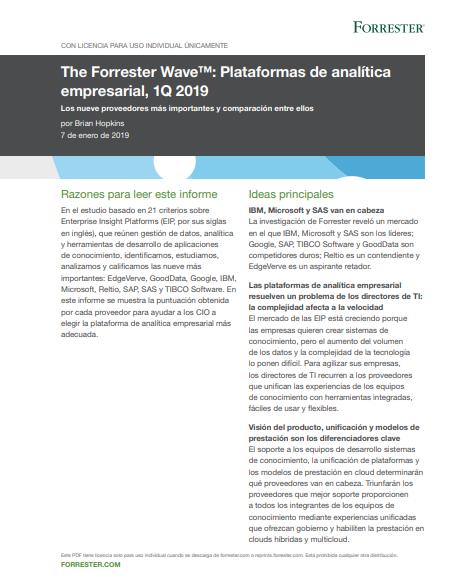 The Forrester Wave™: Plataformas de analítica empresarial, 1Q 2019