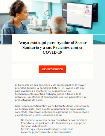 Avaya está aquí para Ayudar al Sector Sanitario y a sus Pacientes contra COVID-19
