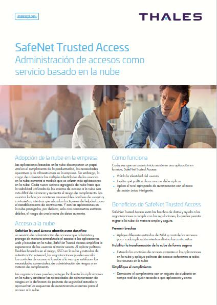 SafeNet Trusted Access: Administración de accesos como servicio basado en la nube