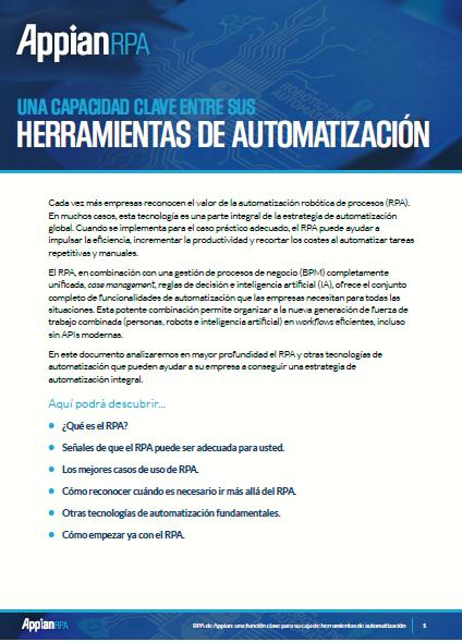 Appian RPA: Una capacidad clave entre sus herramientas de automatización