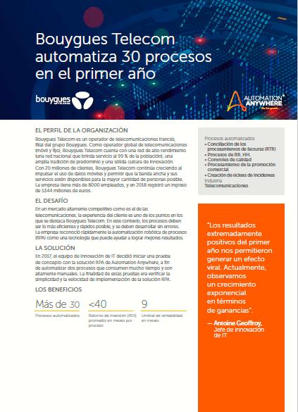 Bouygues Telecom automatiza 30 procesos en el primer año