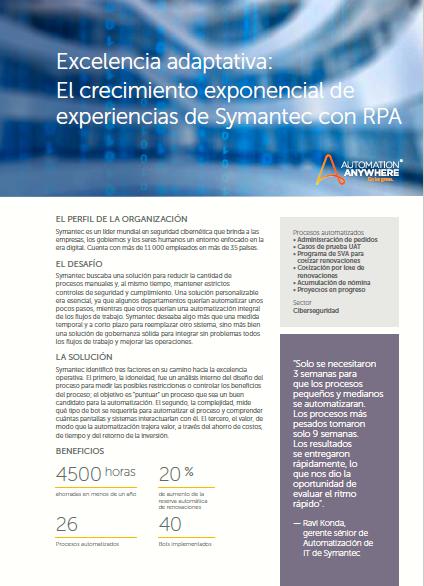 Excelencia adaptativa: El crecimiento exponencial de experiencias de Symantec con RPA