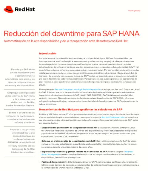 Reducción del downtime para SAP HANA