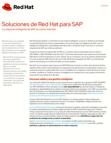 Soluciones de Red Hat para SAP