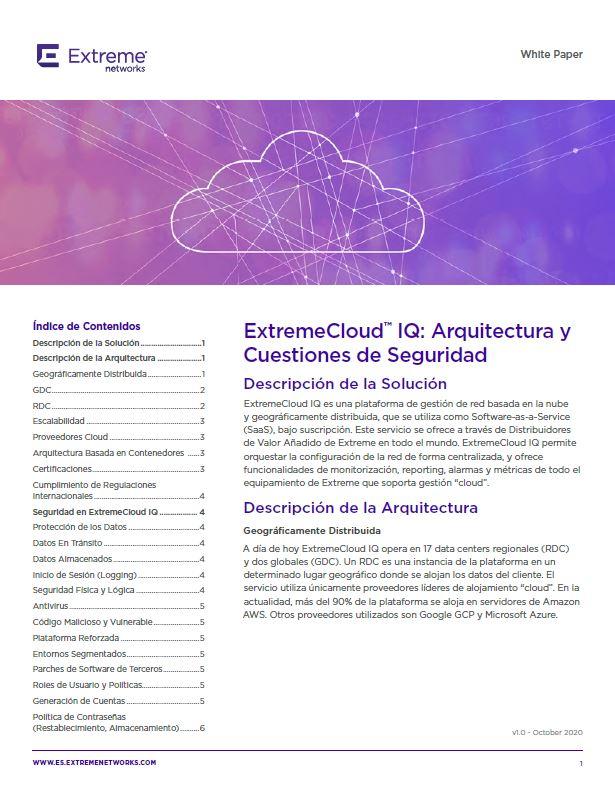 ExtremeCloud™ IQ: Arquitectura y Cuestiones de Seguridad