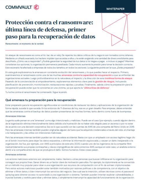 Protección contra el ransomware: última línea de defensa, primer paso para la recuperación de datos