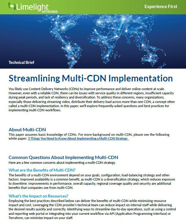 Streamlining Multi-CDN Implementation