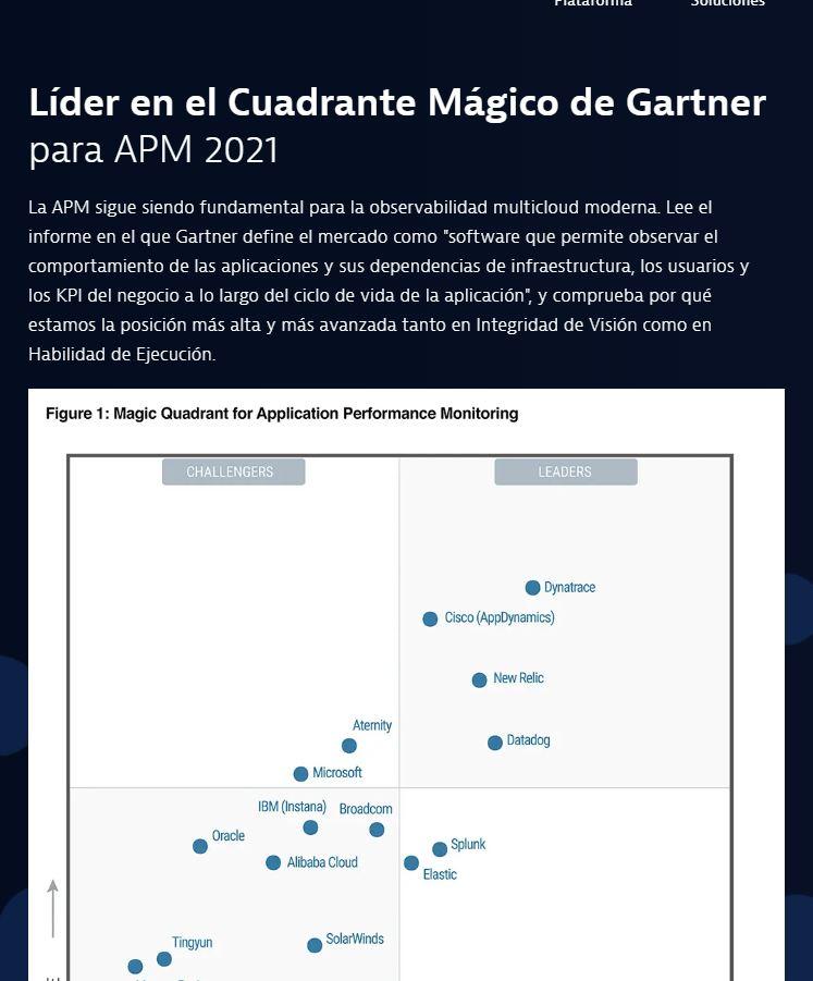 Líder en el Cuadrante Mágico de Gartner para APM 2021